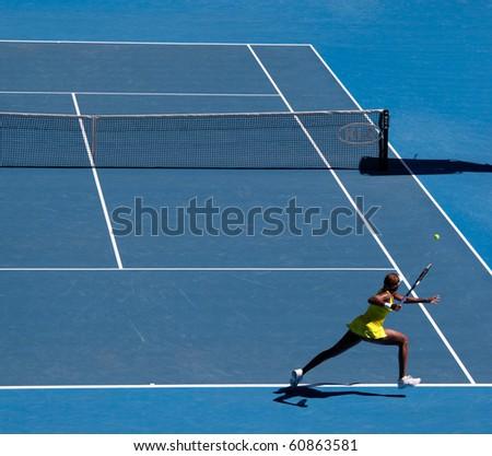 MELBOURNE, AUSTRALIA - JANUARY 23: Venus Williams during her third round match against Casey Dellacqua during the 2010 Australian Open on January 23, 2010 in Melbourne, Australia #60863581