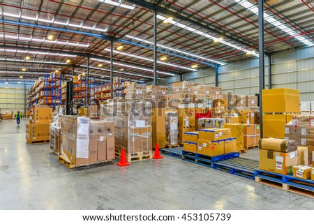 Melbourne, Australia - July 1st, 2016:Interior of warehouse. A warehouse is a commercial building for storage of goods. #453105739