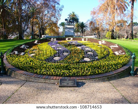 MELBOURNE, AUSTRALIA - JULY 10: The Queen Victoria Gardens on July 5, 2010 in Melbourne, Australia. Seen here is a large floral clock that has been in the park since 1966.