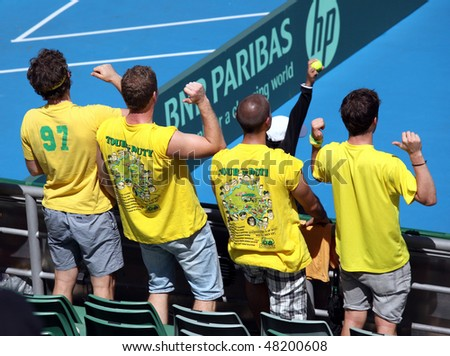 MELBOURNE, AUSTRALIA - MARCH 7: Australia tennis fanatics at the Davis Cup  tie against Chinese Taipei on March 7, 2010 in Melbourne, Australia