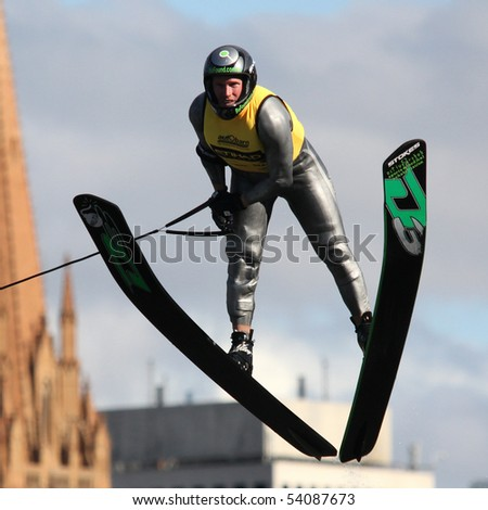 MELBOURNE, AUSTRALIA - MARCH 8: Damien Sharman in the jump event at the Moomba Masters on March 8, 2010 in Melbourne, Australia - stock photo