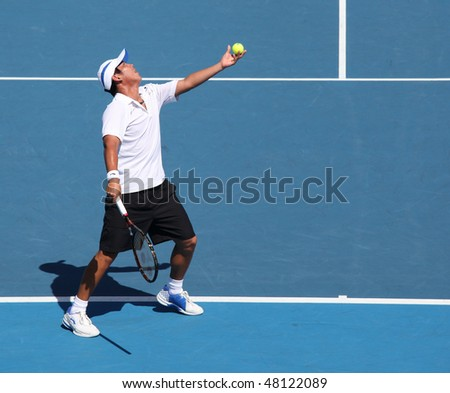 MELBOURNE, AUSTRALIA - MARCH 7: Tsung-Hua Yang of Chinese Taipei in his loss to Peter Luczak of Australia in their Davis Cup tie on March 7, 2010 in Melbourne, Australia