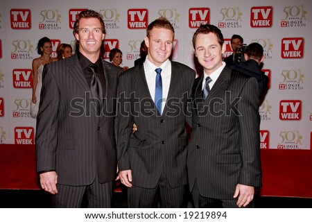 MELBOURNE, AUSTRALIA - MAY 04 2008: Members of the Bondi Rescue TV Show arrive on the red carpet at the 50th Annual TV Week Logie Awards, Crown Towers Hotel and Casino
