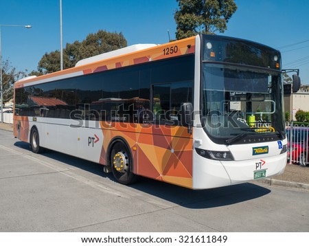 Melbourne, Australia - September 27, 2015: Ventura Bus Lines is a private bus and coach operator in Melbourne, Australia. This bus is waiting outside Boronia station operating a public bus route.