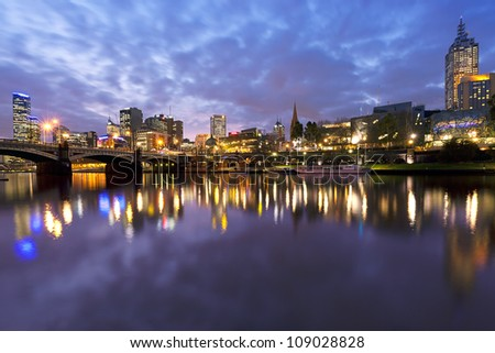 Melbourne, Australia, viewed over the Yarra River at dusk.