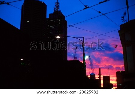 Melbourne by night and tram wires,  Australia