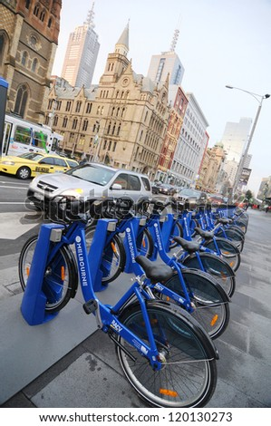 MELBOURNE - CIRCA SEPTEMBER 2010: Melbourne's $5.5 million bike share scheme isn't attracting many users as helmets are required by law but not provided - Circa September 2010 in Melbourne, Australia