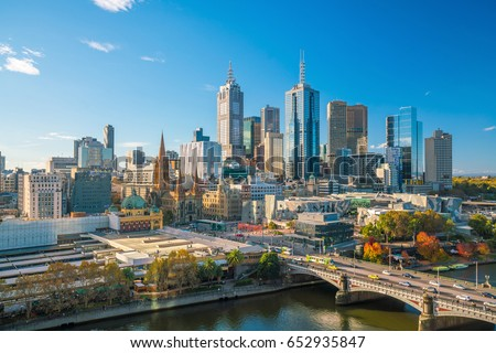 Melbourne city skyline in Australia with blue sky #652935847