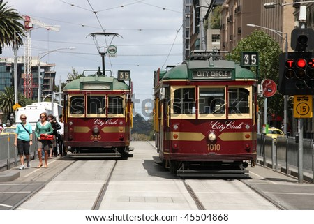 MELBOURNE - FEBRUARY 9: Famous vintage tourist trams on February 9, 2009 in Melbourne, Australia. Melbourne is the second most visited city in Australia (source: Tourism Australia 2008).