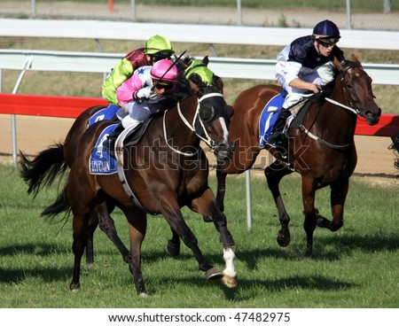 MELBOURNE - FEBRUARY 21: Madam Melba races past the field to win the Windy Peak Maiden at Yarra Glen on February 21, 2010 near Melbourne, Australia.