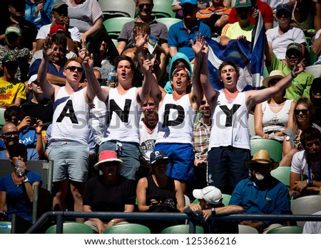 MELBOURNE - JANUARY 17: Andy Murray fans at the 2013 Australian Open on January 17, 2013 in Melbourne, Australia.