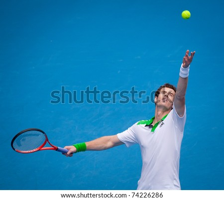 MELBOURNE - JANUARY 26: Andy Murray of Great Britain on his way to the final of the 2011 Australian Open.  January 22, 2011 in Melbourne, Australia. - stock photo