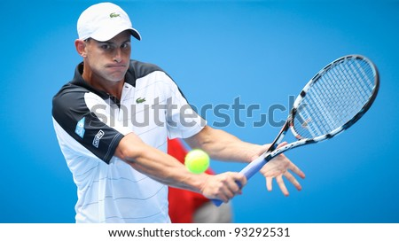 MELBOURNE - JANUARY 17: Andy Roddick in his frist round win over Robin Haase at the 2012 Australian Open on January 17, 2012 in Melbourne, Australia.