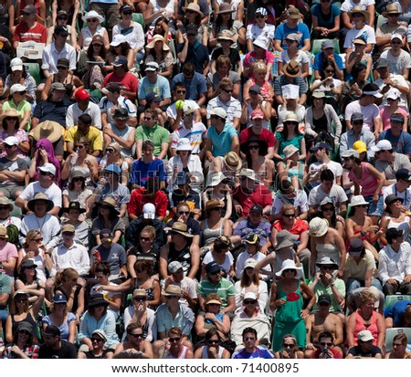 MELBOURNE - JANUARY 22:  Crowd at the 2011 Australian Open Tennis on January 22, 2011 in Melbourne, Australia.