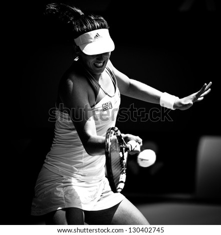 MELBOURNE - JANUARY 17: Garbine Muguruza of Spain in her second round loss to Serena Williams at the 2013 Australian Open on January 17, 2013 in Melbourne, Australia.