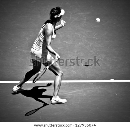 MELBOURNE - JANUARY 14: Kai-Chen Chang of China in her first round loss to Samantha Stosur of Australia at the 2013 Australian Open on January 14, 2013 in Melbourne, Australia.