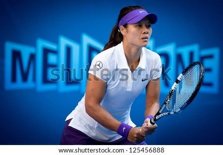 MELBOURNE - JANUARY 20: Li Na of China in her fourth round win over Julia Goerges  of Germany at the 2013 Australian Open on January 20, 2013 in Melbourne, Australia.