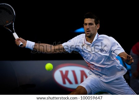 MELBOURNE - JANUARY 27: Novak Djokovic of Serbia in his semi final win over Andy Murray of Great Britain at the 2012 Australian Open on January 27, 2012 in Melbourne, Australia.