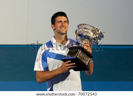 MELBOURNE - JANUARY 30: Novak Djokovic of Serbia winning the 2011 Australian Open final. January 30, 2011 in Melbourne, Australia.