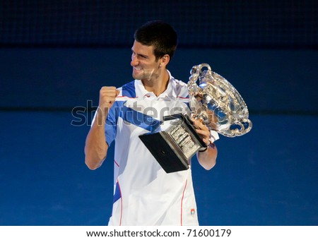 MELBOURNE - JANUARY 30: Novak Djokovic of Serbia wins the 2011 Australian Open final on January 30, 2011 in Melbourne, Australia.