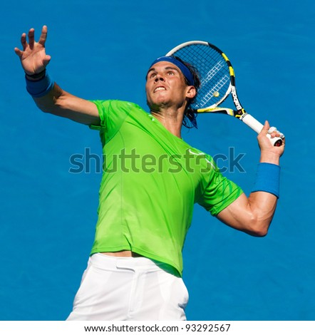 MELBOURNE - JANUARY 18:Rafael Nadal of SPain in his second round win over Tommy Haas of Germany at the 2012 Australian Open on January 18, 2012 in Melbourne, Australia.