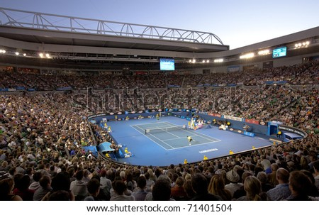MELBOURNE - JANUARY 28: Rod Aver arena in the semi finals of the 2011 Australian Open on January 28, 2011 in Melbourne, Australia.
