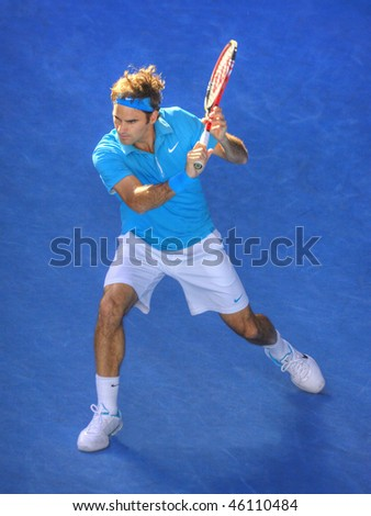 MELBOURNE - JANUARY 27: Roger Federer on his way to the 2010 Australian Open title on January 27, 2010 in Melbourne