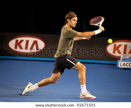 MELBOURNE - JANUARY 11: Roger Federer practices in the lead up to the 2012 Australian Open on January 11, 2012 in Melbourne, Australia.