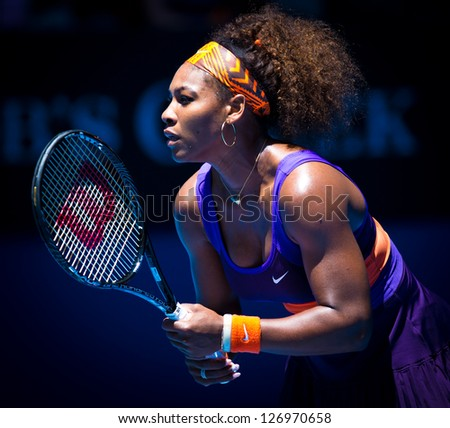 MELBOURNE - JANUARY 19: Serena Williams in her third round win over Ayumi Morita of Japan at the 2013 Australian Open on January 19, 2013 in Melbourne, Australia.