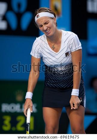 MELBOURNE - JANUARY 23: Svetlana Kuznetsova of Russia in her marathon fourth round loss to Francesca Schiavone of Italy  in the 2011 Australian Open on January 23, 2011 in Melbourne, Australia