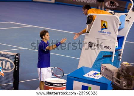 MELBOURNE - JANUARY 19: Tennis player Roger Federer, Switzerland at the Australian Open on January 19, 2009 in Melbourne Australia.