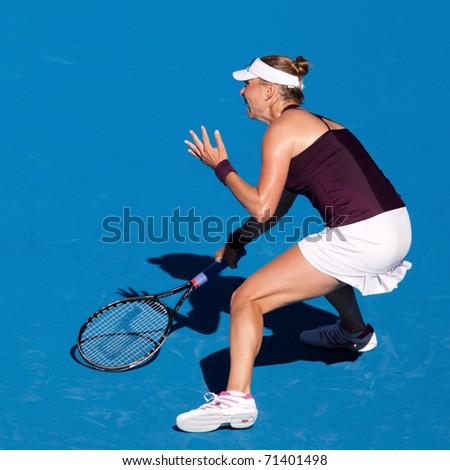 MELBOURNE - JANUARY 27: Vera Zvonareva of Russiain her semi final loss to Kim Clijsters of Belgium in the 2011 Australian Open on January 27, 2011 in Melbourne, Australia - stock photo