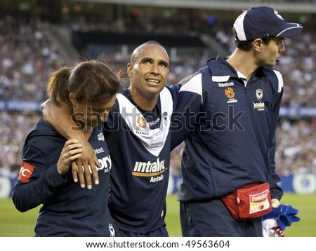 MELBOURNE - MARCH 20: Archie Thompson of Melbourne victory after injuring his knee in the A-League League grand final won by Sydney FC over Melbourne Victory on March 20, 2010 in Melbourne