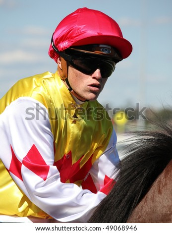 MELBOURNE - MARCH 13: Jockey Craig Williams on Carrara before the start of the Crown Guineas, won by Rock Classic at Flemington on March 13, 2010 - Melbourne, Australia.