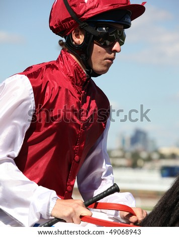 MELBOURNE - MARCH 13: Jockey Kerrin McEvoy on Denman before the start of the Crown Guineas, won by Rock Classic at Flemington on March 13, 2010 - Melbourne, Australia.