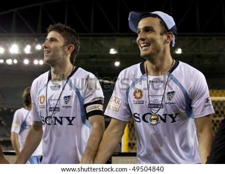 MELBOURNE - MARCH 20:  Sydney FC players celebrate their A-League grand final lwin over Melbourne Victory on March 20, 2010 in Melbourne.