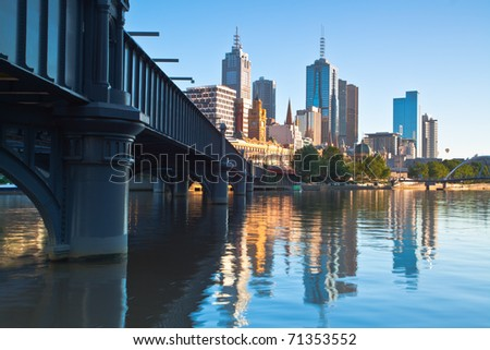 Melbourne skyline and Yarra river from Southbank