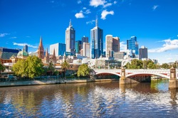 Melbourne skyline looking towards Flinders Street Station. Australia.