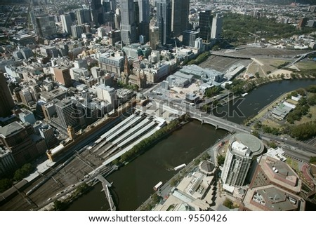Melbourne yarra river view from high building