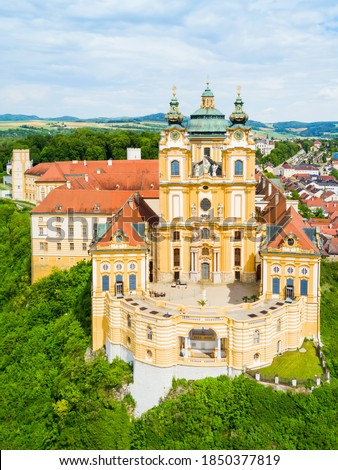 Melk Abbey Monastery aerial panoramic view. Stift Melk is a Benedictine abbey in Melk, Austria. Monastery located on a rocky outcrop overlooking the Danube river and Wachau valley. Сток-фото ©