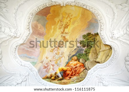 MELK, AUSTRIA - JUNE 21: St. Peter and Paul Church in Melk Abbey. Abbey Church is considered one of the most beautiful in Austria, built in baroque churches; June 21, 2012 Melk, Austria.