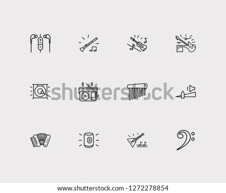 Melody icons set. Electric guitar and melody icons with earphone, clarinet and violin. Set of wind for web app logo UI design.