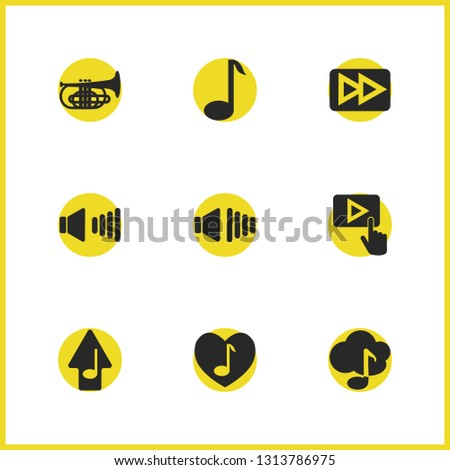 Melody icons set with music note, upload music and high volume elements. Set of melody icons and send melody concept. Editable  elements for logo app UI design.