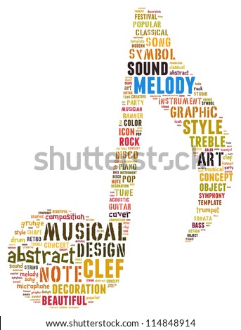 melody info-text graphics and arrangement concept (word cloud)