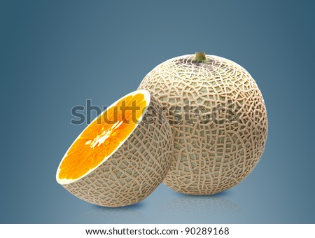 Melon and Orange inside, ideal for mix fruit juice. - stock photo