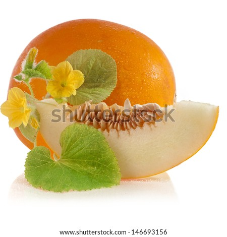 Melon fruit with flowers and leaves isolated on a white background