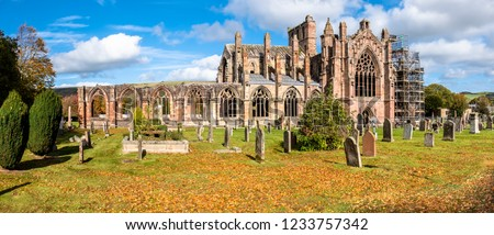 Melrose Abbey ruins in autumn - Scottish Borders - United Kingdom #1233757342