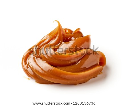 melted caramel isolated on a white background #1283136736