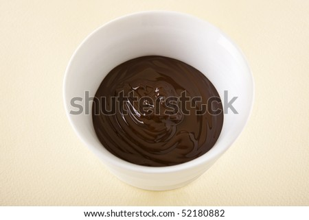 Melted chocolate sauce in a small white bowl.