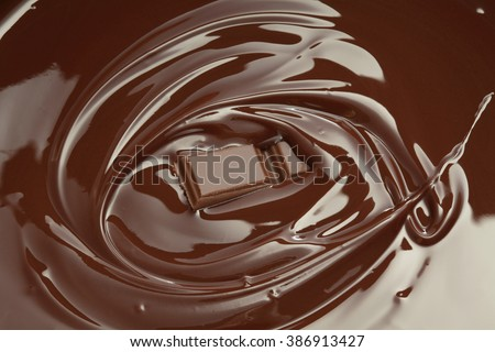 Melted chocolate swirl with chocolate bar piece/ chocolate background